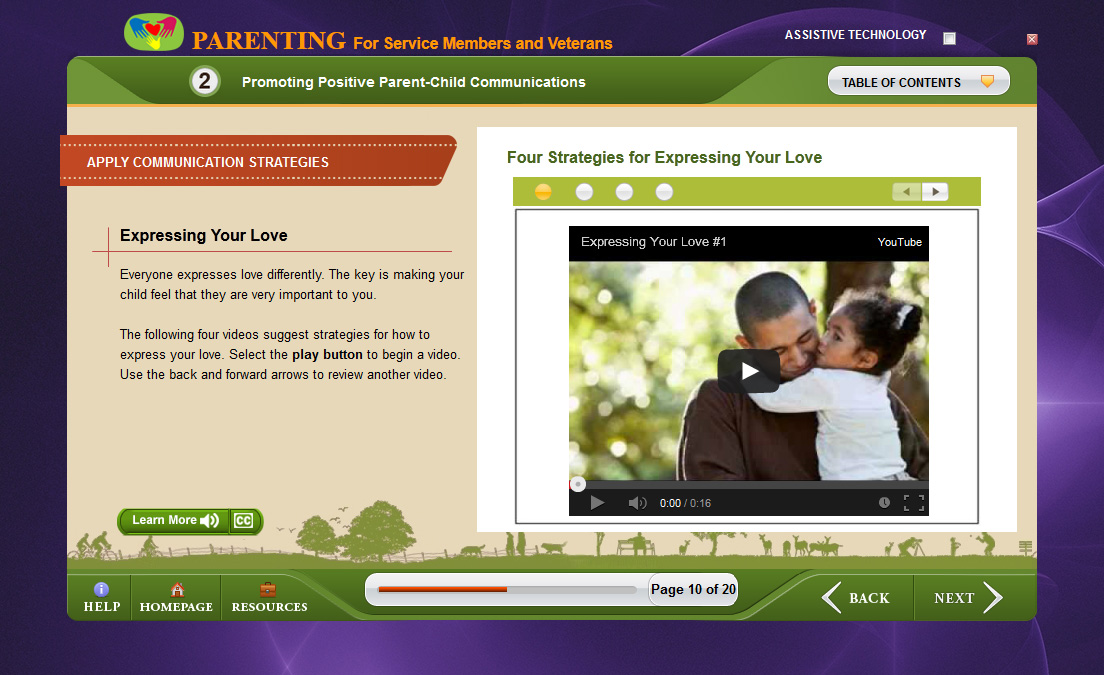 Course interface for Parenting for Service Members and Veterans online course