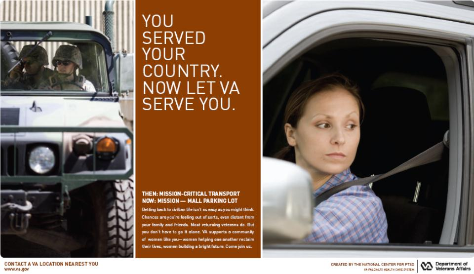 Women Veterans driving a military vehicle on the left, and a civilian woman driving a car on the right.